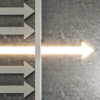 Glowing arrow breaking through wall on concrete background. Breakthrough and growth concept. 3D Rendering